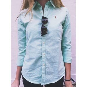 Ralph Lauren Blue Turquoise Slim Fit Oxford Button